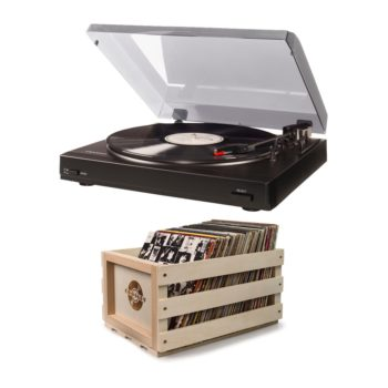 Black T200 rosily record player turntable with wooden crate bundle