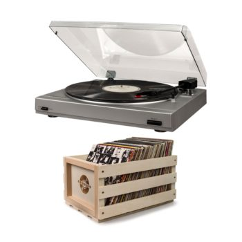 Silver T200 Crosley record player turntable with bundled wooden crate