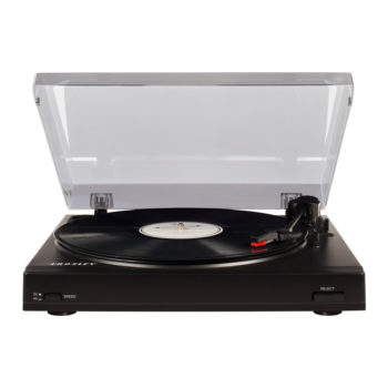 Front view with open hood image of black Crosley T200 turntable