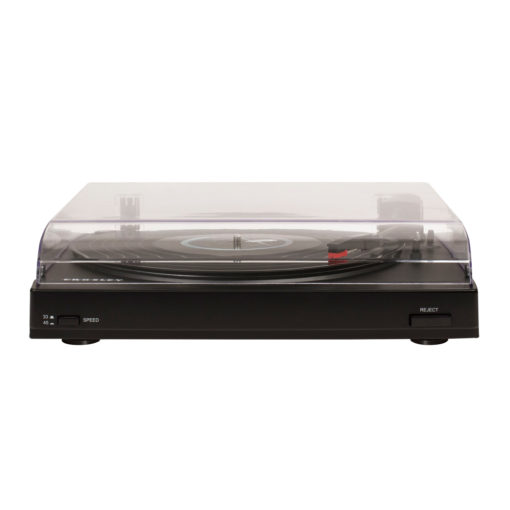 Front view with hood down image of black Crosley T200 turntable