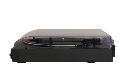 Closer and side view of Crosley T200 turntable in black colour