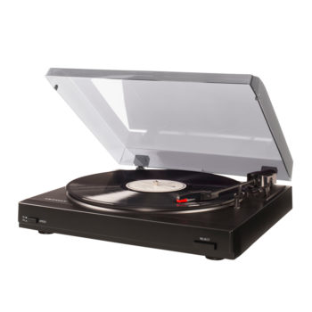 Side view photo of black Crosley T200 Turntable
