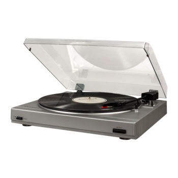 Side view open hood photo of silver Crolsey T200 turntable