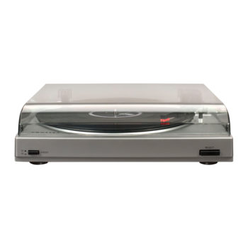 Front view photo of silver Crosley T200 turntable with hood down