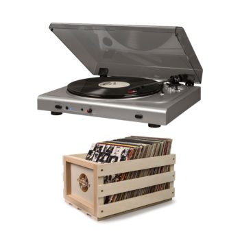 Crosley silver T300 record player turntable with bundled crossly crate