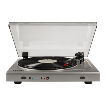 Front view of Crosley T300 turntable in silver colour