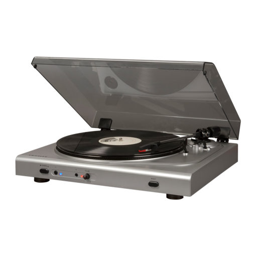 Side view of silver Crosley T300 turntable with open hood