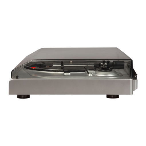 Side view of silver Crosley T300 turntable