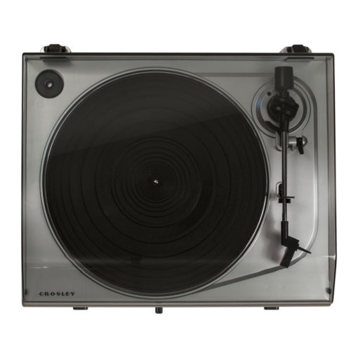 Top view of silver Crosley T300 turntable