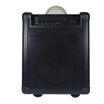 Front view of large black HolySmoke iDisco speakers