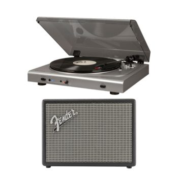 Silver Crosley T300 turntable record player with smoke coloured lid shown with large Fender Monterey bluetooth speaker finished with silver grille