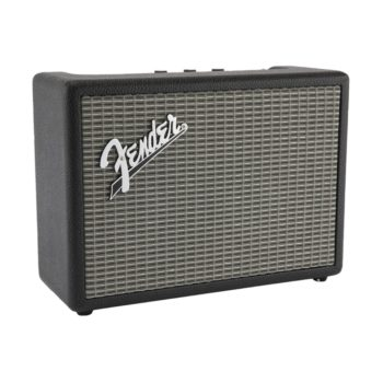 Fender Monterey bluetooth speaker shown on an angle with silver grille prominent and dials just visible