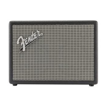 Front on view of Fender Monterey bluetooth speaker with large Fender logo in top left corner