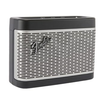 Angle view of Fender Newport speaker with silver grille encased in black plastic frame