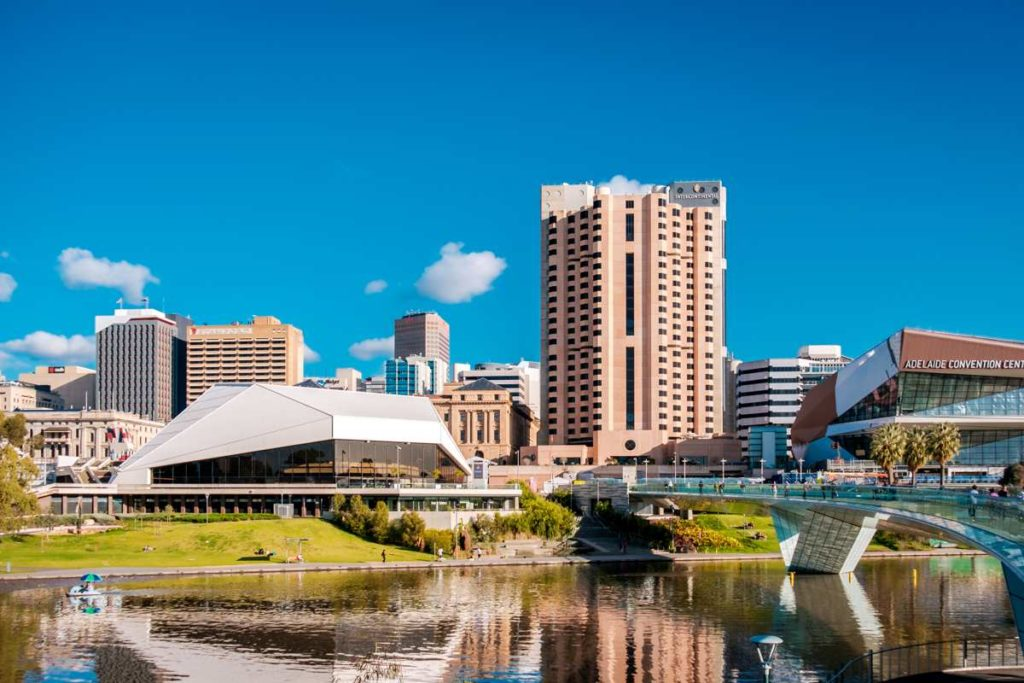 Adelaide-city-skyline-with-river-shown-in-foreground-and-bridge