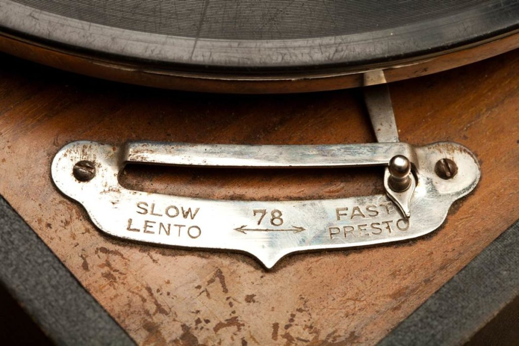 Vintage speed settings of an old gramophone