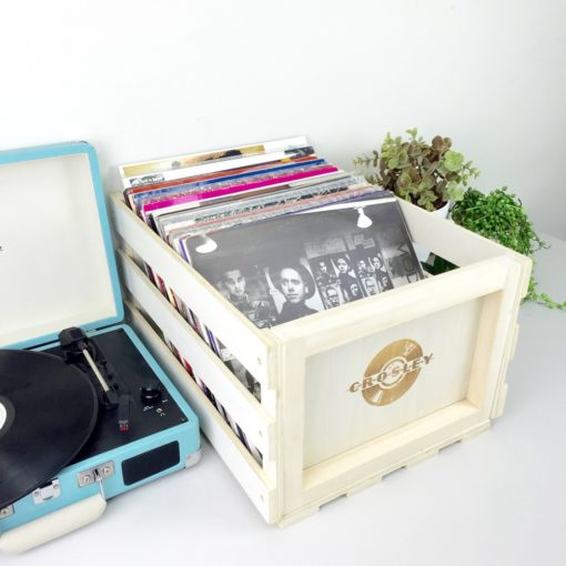 Crosley Record storage crate shown next to turntable
