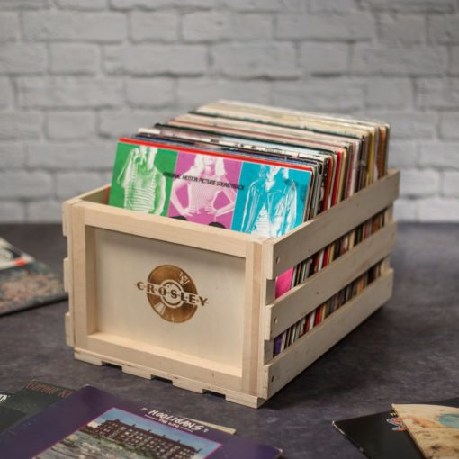 Crosley record storage crate full with albums