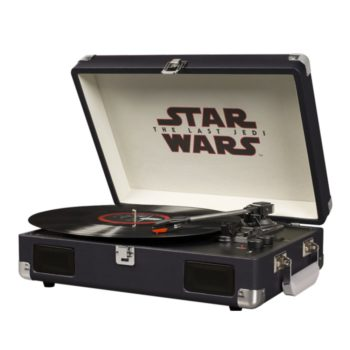 Open shot of Star Wars last Jedi turntable with record playing on platter