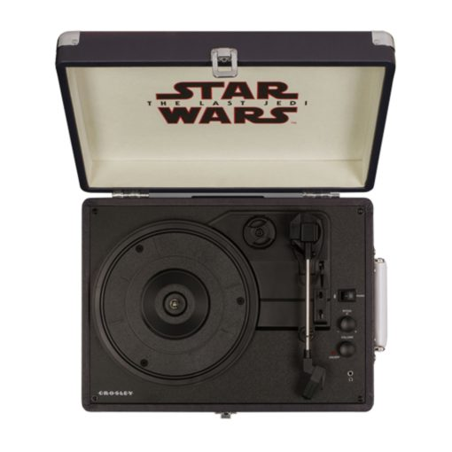 Opened case of last Jedi Star Wars turntable with platter and tonearm visible