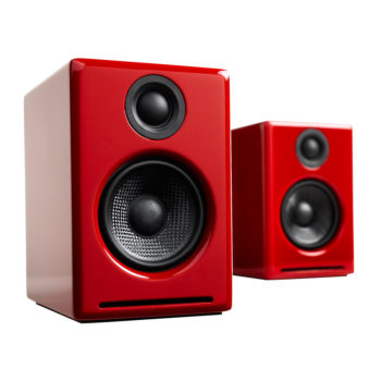 A set of Audioengine 2+ Powered Speakers in red colour