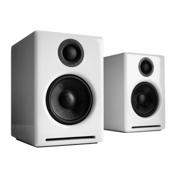 Photo of white Audioengine 2+ speakers