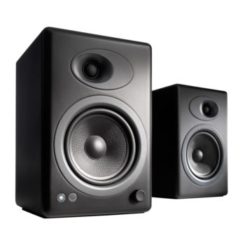 Image of Audioengine 5+ powered bookshelf speakers in black colour