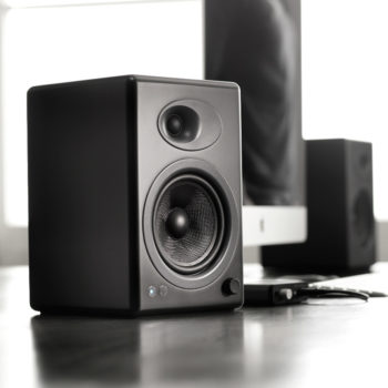 Lifestyle photo of Audioengine 5+ Powered Bookshelf Speakers in black colour
