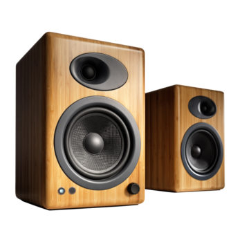 Photo of Audioengine 5+Powered Bookshelf Speakers with bamboo outercase