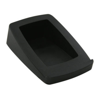 Close up image of right facing black Audioengine DS2 speaker stand