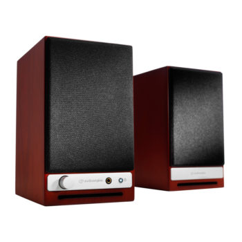 Image of cherry red Audioengine HD3 speakers