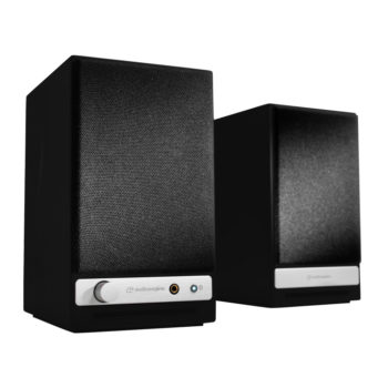 Front angled photo of black Audioengine HD3 powered speakers