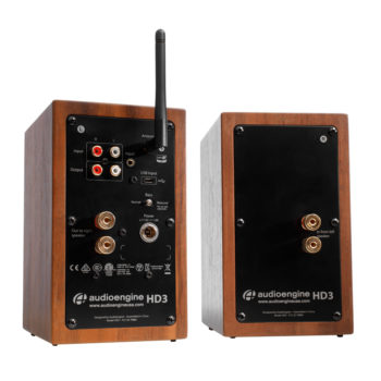 Back view of walnut Audioengine HD3 powered speakers