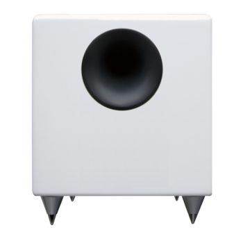 Front image of white Audioengine S8 subwoofer