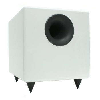 Angled front photo of white Audioengine S8 subwoofer