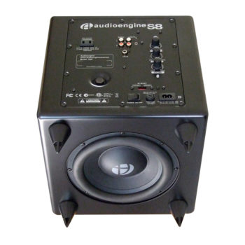 Bottom view of Audioengine S8 subwoofer in black colour