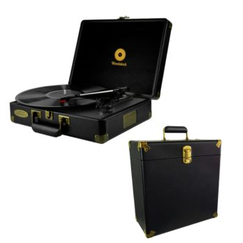 A bundle of one black mbeat Woodstock retro turntable and vinyl case