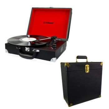 mbeat® Retro Briefcase-styled USB Turntable Recorder with record carrier case bundle