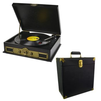 Photo of mbeat Vintage Wood Bluetooth Turntable with leatherette vinyl carry case