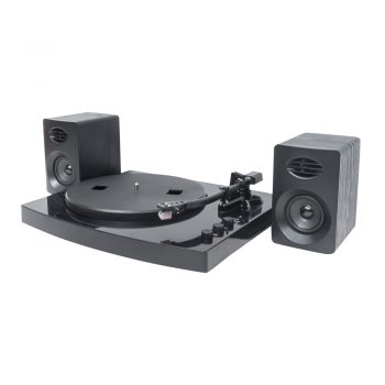 Left angle photo of black mbeat® PRO-M stereo turntable with bluetooth and speakers