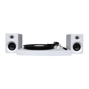 Front view mbeat® PRO-M Stereo Turntable System with Bluetooth in white colour