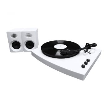 Left angle view of white mbeat® PRO-M stereo turntable system with bluetooth