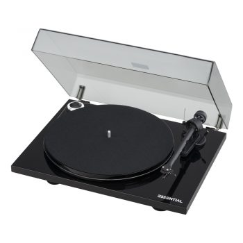 Angled view photo of black Pro-Ject Essential III Phono Turntable with Ortofon OM10 Cartridge with dustcover