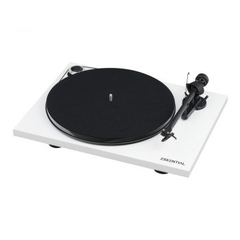 Angled photo of white Pro-Ject Essential III Phono Turntable with Ortofon OM10 Cartridge with no dustcover