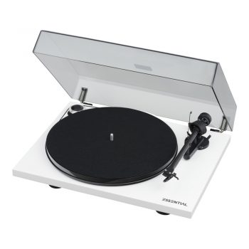 Angled photo of Pro-Ject Essential III Phono Turntable with Ortofon OM10 Cartridge in white colour and with dustcover