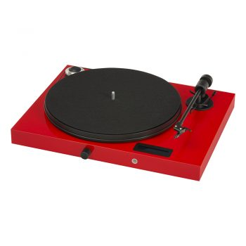 Angled front image of glossy red Pro-Ject Juke Box E Turntable with Ortofon OM5e Cartridge with no dustcover
