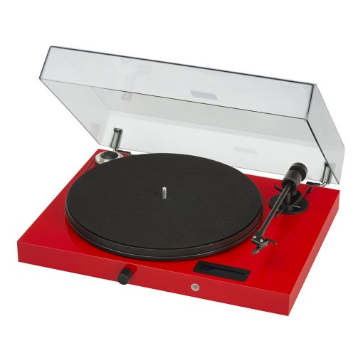 Angled photo of Pro-Ject Juke Box E Turntable with Ortofon OM5e Cartridge in glossy red colour