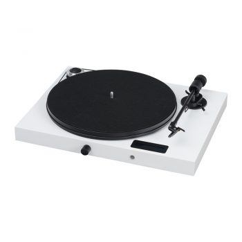 Angled front view of Pro-Ject Juke Box E Turntable with Ortofon OM5e Cartridge in white colour