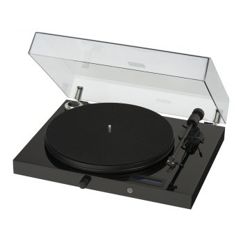 Angled photo of black Pro-Ject Essential III Phono Turntable with Ortofon OM10 Cartridge