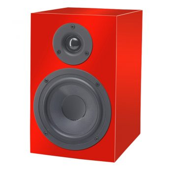 Front view of Pro-Ject Speaker Box 5 Bookshelf Speakers in high gloss red colour